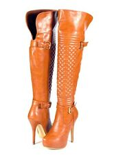 Rusty Tan Super Hot Runway Moto Look Over the Knee Thigh High Stiletto Boots