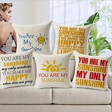 """Home Decor """"You Are My Sunshine"""" Cotton Back Cushion Cover Throw Pillow Case 1pc"""