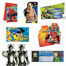 Boys Birthday Party Invitations Spiderman Batman Turtles Superhero WWE & more!!