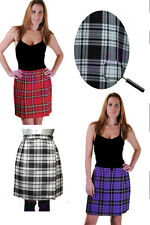 "New Ladies Tartan Pleated Wrap Over Buttoned Kilt Skirt 18"" Inches Skirts 8-18"