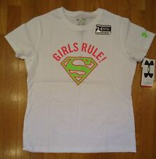 NWT UNDER ARMOUR SHIRT GIRLS LARGE XL CHARGED COTTON SUPERGIRL ALTER EGO