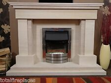Delta Limestone and Travertine Fireplace - Optional Lights - Made In England