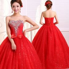 Red Strapless Sweetheart Bride Bridal Wedding Dresses S M L XL or Custom-made H4