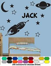 Space Rocket Planet Personalised Wall Art Sticker Quote Decal Boys Bedroom