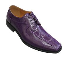Oxfords Faux Leather Embossed Men's Dress Shoes #5732 Purple Size 8.5 - 13