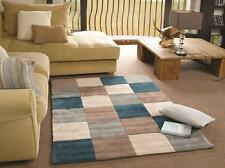 Infinite Inspire Squared Teal Duck Egg Beige Hand Tufted Rug in various sizes