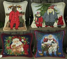 Beautiful Handmade Stitched Needlepoint  Pillow Cushion Christmas Design #4