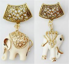 Crystal Elephant Pendant Charm Alloy Tube Jewelry Scarf Necklace Findings