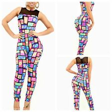New Womens Sleeveless Checks Plaid Lip Printed Bodycon Rompers Trouser Jumpsuits