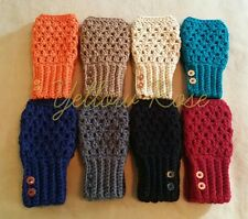 Handmade Crocheted Womens Fingerless Gloves Mittens One Size