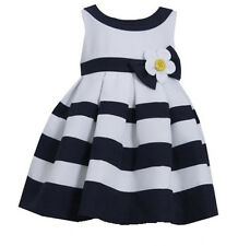 Toddler Girls Navy & White Banded Easter Dress by Bonnie Jean
