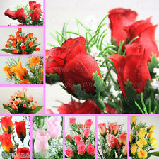 84 Mini Silk Rose Buds 4 bushes artificial flowers bouquet posy craft decoration