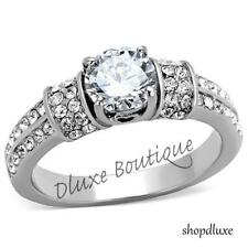 1.75 CT ROUND CUT CZ STAINLESS STEEL ENGAGEMENT RING BAND WOMEN'S SIZE 5-10