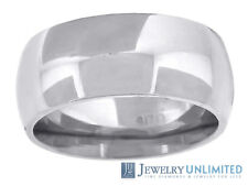 10K White Gold Mens Ladies Comfort Fit Wedding Engagement Ring Band 8mm Size6-13