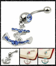 Hot Fashion Anchor Dangle Button Barbell Belly Navel Ring Bar Body Piercing UK
