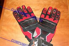 EXL Motorcycle ATV Off road racing RED Gloves, Leather palm, reflective MXG900