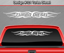 Design #121 TURBO DIESEL Windshield Decal Sticker Window Graphic Flame Tribal