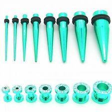One Size or Set Flesh Tunnel Ear Plug and Expander Stretcher Steel Strass Green