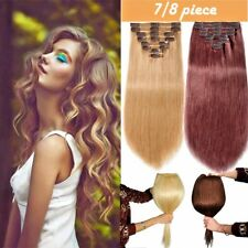 Real Grade AAAA Clip In 100% Remy Human Hair Extensions Full Head US SELLER F398