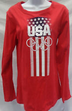 Team USA Olympic Ladies Long Sleeve Glitter T-Shirt Red