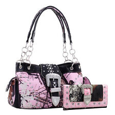 Camo Purse with Wallet Set Western Handbag Wallet Combo with Buckle Studs Chain