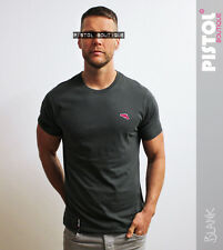 "Pistol Boutique plain charcoal ""Blank"" fashion crew neck mens t-shirt gun logo"