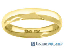 10K Yellow Gold Mens Ladies Hollow Comfort Fit Wedding Ring Band 4mm Size 5-13