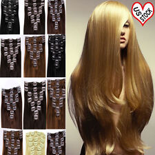 """BEST 18"""" 20"""" 22"""" Clip In 100% Remy Human Hair Extensions Full Head Straight F414"""