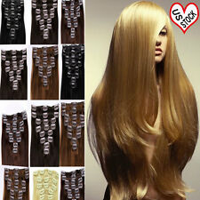 "BEST 18"" 20"" 22"" Clip In 100% Remy Human Hair Extensions Full Head Straight F414"