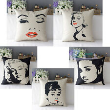 Sexy Movie Star Audrey Hepburn Marilyn Monroe Cushion Cover Throw Pillow Case