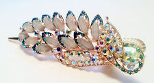 Leaf and Peacock Feather Design Hair Clip w Rhinestones  and Crystal Accent