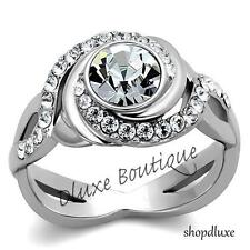 1.90 Ct Round Cut CZ Stainless Steel Engagement Ring Band Women's Size 5-10