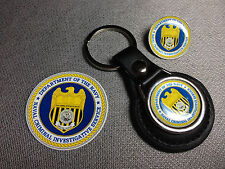 U.S. NAVY N.C.I.CS.LEATHER KEY RINGS & BADGES + FREE NCIS  STICKERS