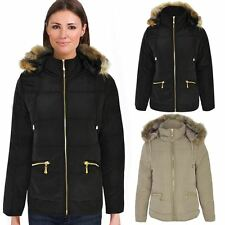 NEW WOMENS LADIES WINTER JACKET  WARM PUFFER QUILTED ZIP UP COAT SIZE QUILTED