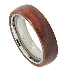 6MM Titanium Mens Wedding Band Ring w/ Hawaiian Koa Wood Inlay Size 5-10