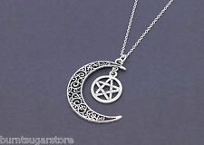 Large Silver Crescent Moon and Pentagram Necklace Star Jewelry Pentacle Pendant
