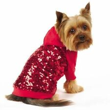 East Side Collection Love Me Glamorous Sequin Red Dog Hoodie Pet Party Pullover