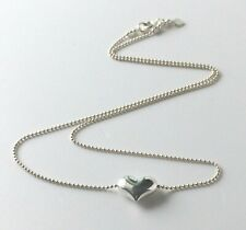 Ladies 925 Sterling Silver Ball or Bead Chain Necklace & Puff Heart Bead Pendant
