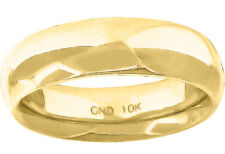 10K Yellow Gold Mens Ladies Hollow Comfort Fit Wedding Ring Band 6mm Size 7-13