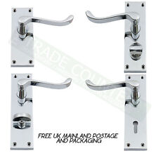 Polished Chrome Door Lever Handles Lock, Latch, Privacy Or Bathroom Pair Scroll
