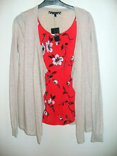 Women's Next Neutral Cardigan with attached Red Floral Top, Size 8, BNWT