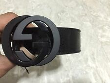 NWT Authentic Gucci Men's Black GG Imprimé Shiny Belt 223891 FU49X