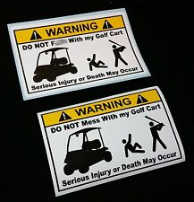Do NOT Mess With My Golf Cart Vinyl Warning Sticker Decal Bumper Funny