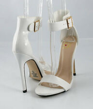 White Patent  Hot Trend Single Strap Heel Sandals Shoes Closed Back Ankle Strap