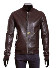 80's Classic Bomber Brown Men's Smart Vintage Real Soft Lambskin Leather Jacket