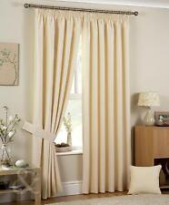 PAIR OF CREAM READY MADE PENCIL PLEAT JACQUARD LINED CURTAINS