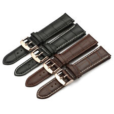 12MM-24MM Croco Grain Genuine Calf Leather Strap Watch Band Rose Gold Buckle New
