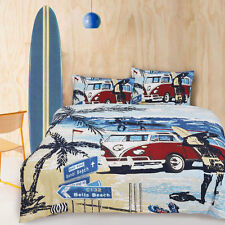 Retro Summer Kombi Van Beach Surf Quilt Doona Cover Set SINGLE DOUBLE QUEEN KING