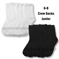 12 Pairs  Kid's 6-8 Black White Uniform School  Crew Socks Boy's Girl's Junior