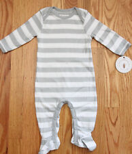 Burt's Bees Baby Boy Footed Coverall ~ Gray & White Stripes ~ Organic ~